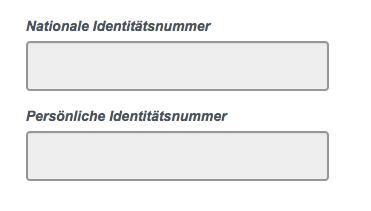 Nationale Identitätsnummer im ESTA-Antrag
