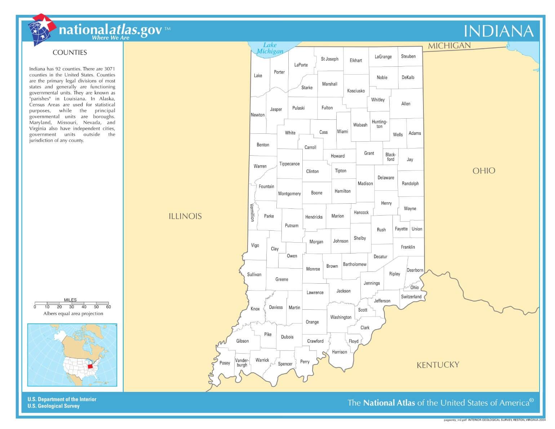 Karte von Indiana