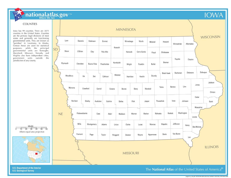 Karte von Iowa