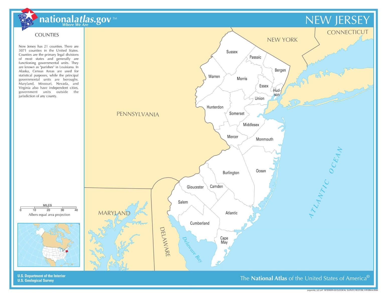 Karte von New Jersey