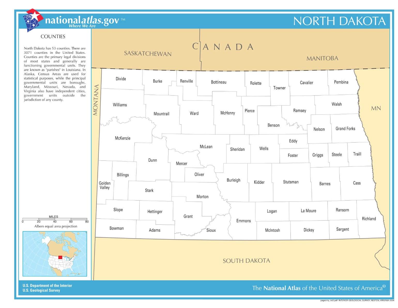 Karte von North Dakota