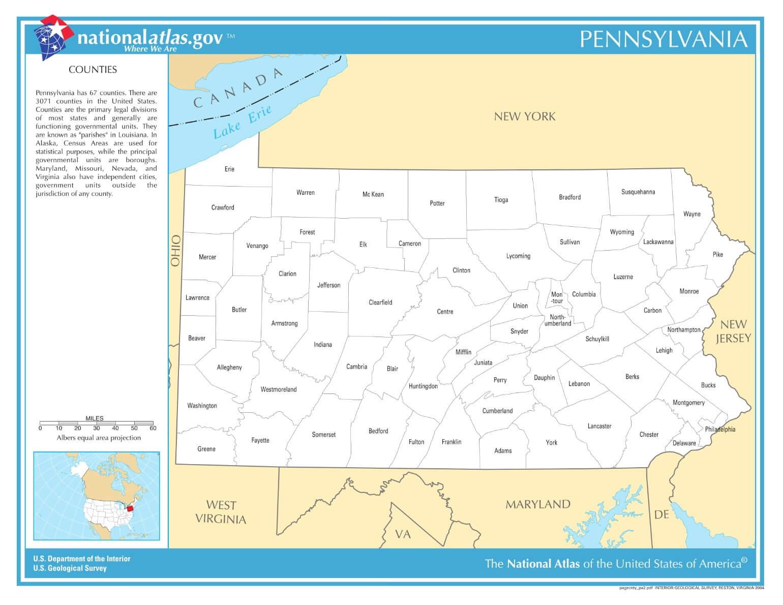 Karte von Pennsylvania