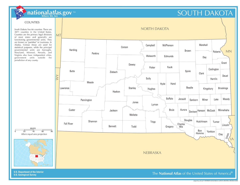 Karte von South Dakota