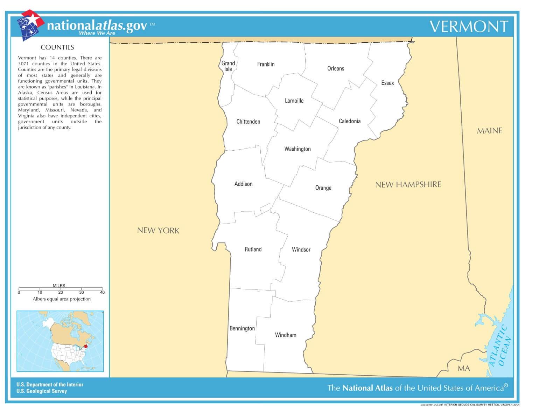 Karte von Vermont